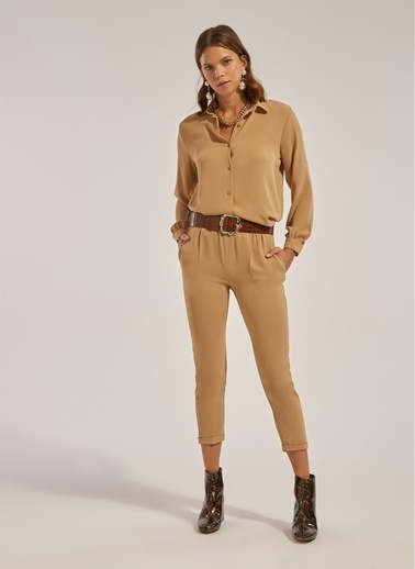Monamoda Duble Paça Beli Lastikli Pantolon Takım Alt Camel